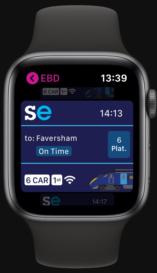 WatchMyTrain running on Apple Watch.